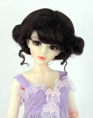 """1//4 1//3 bjd 7-8/"""" msd doll wig black color curly real mohair dollfie W-JD406M2M"""