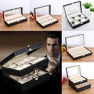 Uhrenbox Uhrenkoffer Uhr Kasten Aufbewahrungsbox Uhrenkasten Uhrenschatulle SU _