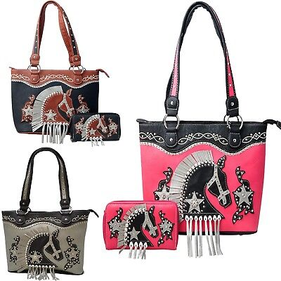 Western Handbag Fringe Tassel Cross Concealed Carry Purse Wallet Set Tooled Tote