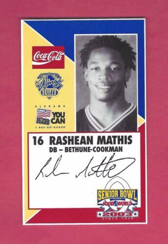RASHEAN MATHIS 2003 SENIOR BOWL BETHUNE-COOKMAN WILDCATS ROOKIE DETROIT LIONS