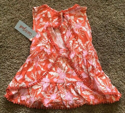 Girls Orange Floral Sleeveless Cat /& Jack Top XS 4//5