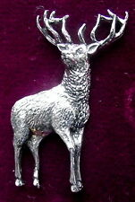 Pewter Red Deer Stag Hunting Shooting Brooch Pin Signed