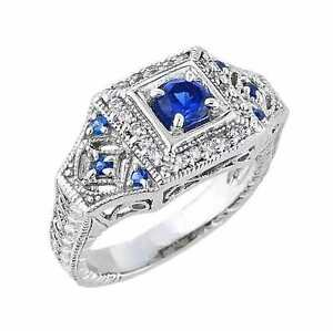 14k White Gold Art Deco Classic Blue CZ Engagement Ring 3.3MM Band