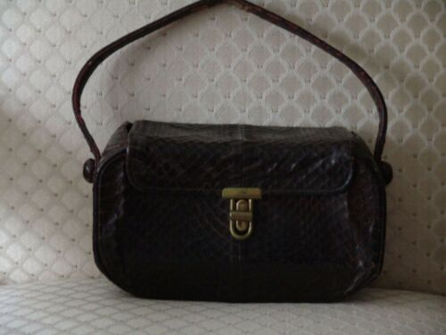 VTG 30s 40s Handbag Brown Authentic Snakeskin Dec