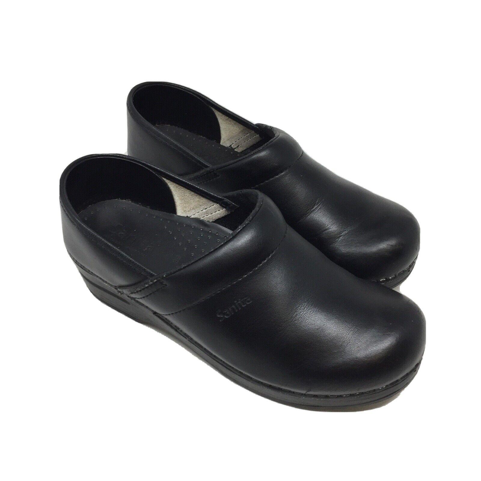 Sanita Clogs Size 8.5 EU 39 Black Leather Comfort Danish Shoes