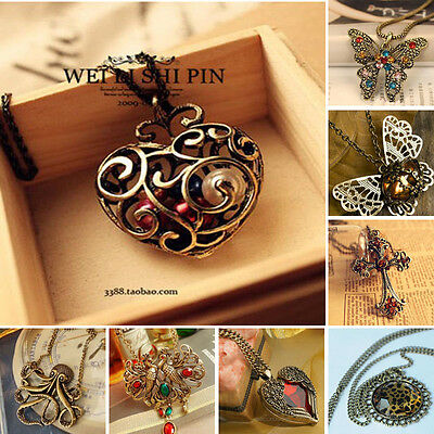 Retro Heart Cross Phenix Shape Sweater Chain Pendant Necklace Women Xmas Gift