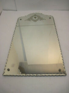 Vintage Antique Wall Mirror Cut Glass Engrave Etched Ebay