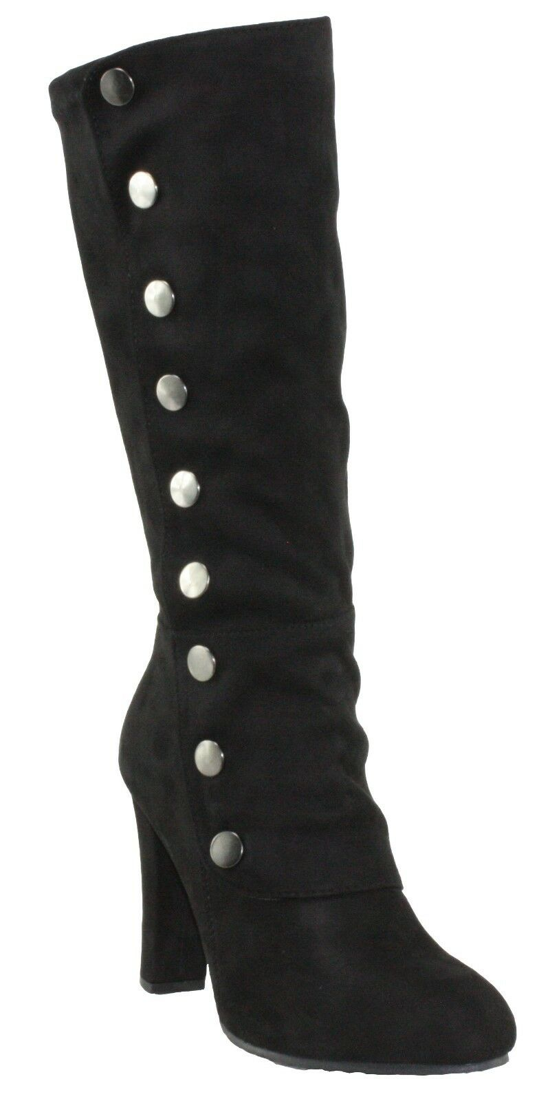 Forever Women's Dasia-42 Faux Suede Mid-Calf Block High Heel Dress Boots