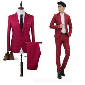 2Pcs Men/'s Casual Business Suit Set Slim Fit Blazer Coat One Button Jacket Pants