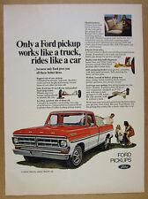 1971 Ford Ranger XLT Pickup red & white truck sheepdog photo vintage print Ad