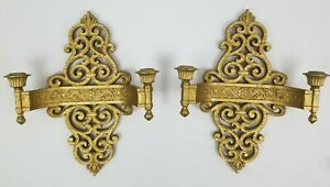 Vintage-Double-Arm-Candle-Holder-Wall-Sconce-Pair-Hollywood-Regency-Syroco