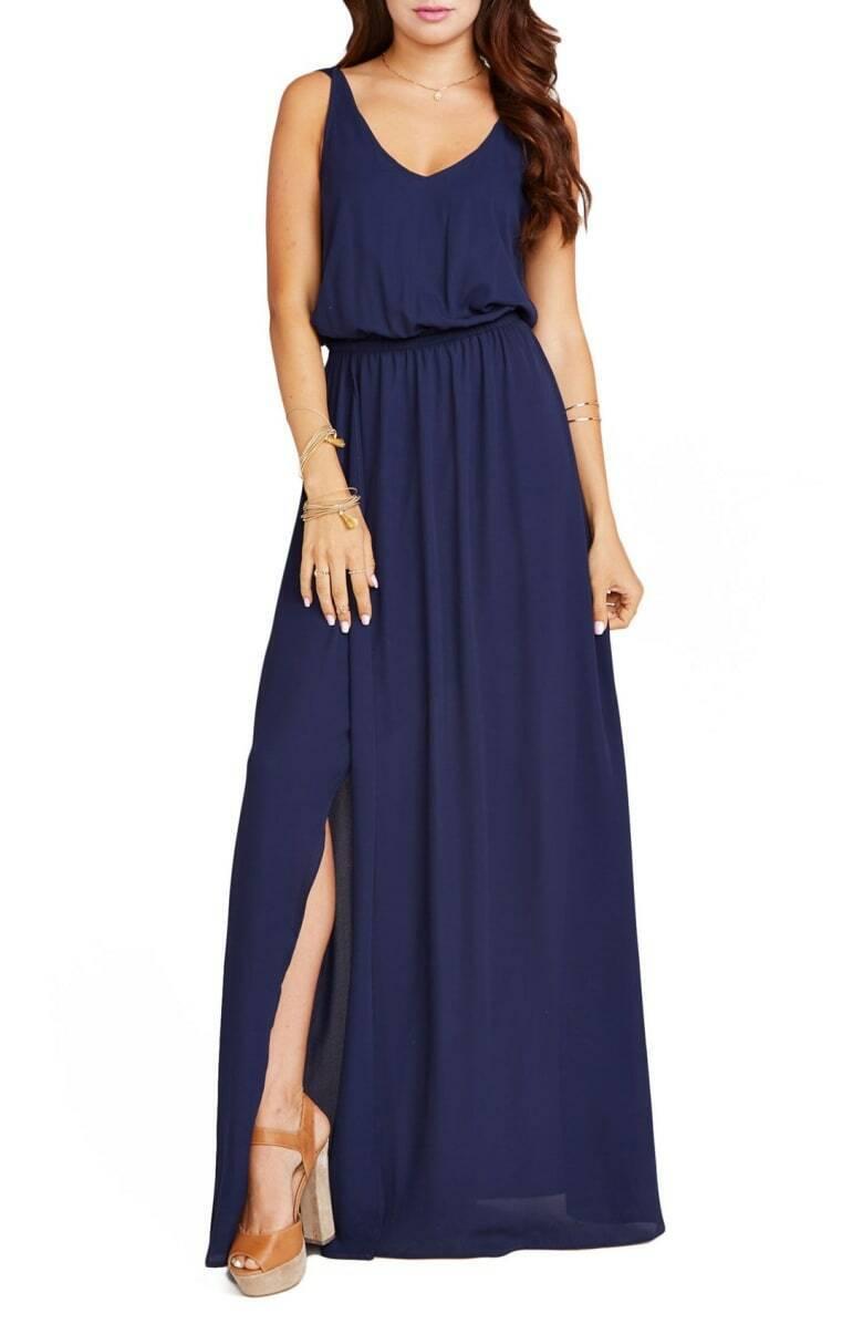 Show Me Your Mumu Kendall Soft V-Back A-Line Gown in Rich Navy Crisp, Größe L