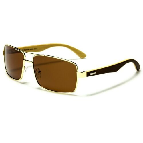 Large Square Pilot Frame Wood Bamboo Arm Polarized Polarised Mens Sunglasses