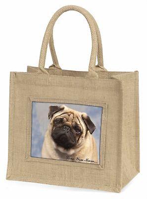 Mops Hund ' Liebe, die sie Mama 'Große natürliche jute-einkaufstasche