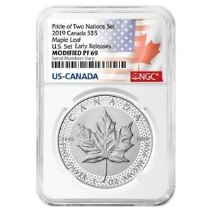 2019-1-oz-Modified-Proof-Silver-Maple-NGC-PF-69-Pride-of-Two-Nations-Two-Flags