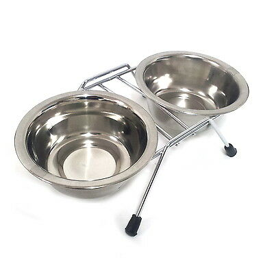 Stainless Steel Double Feeder Dish Dog Cat Pet Food Water Bowl 8oz. /w Stand AU