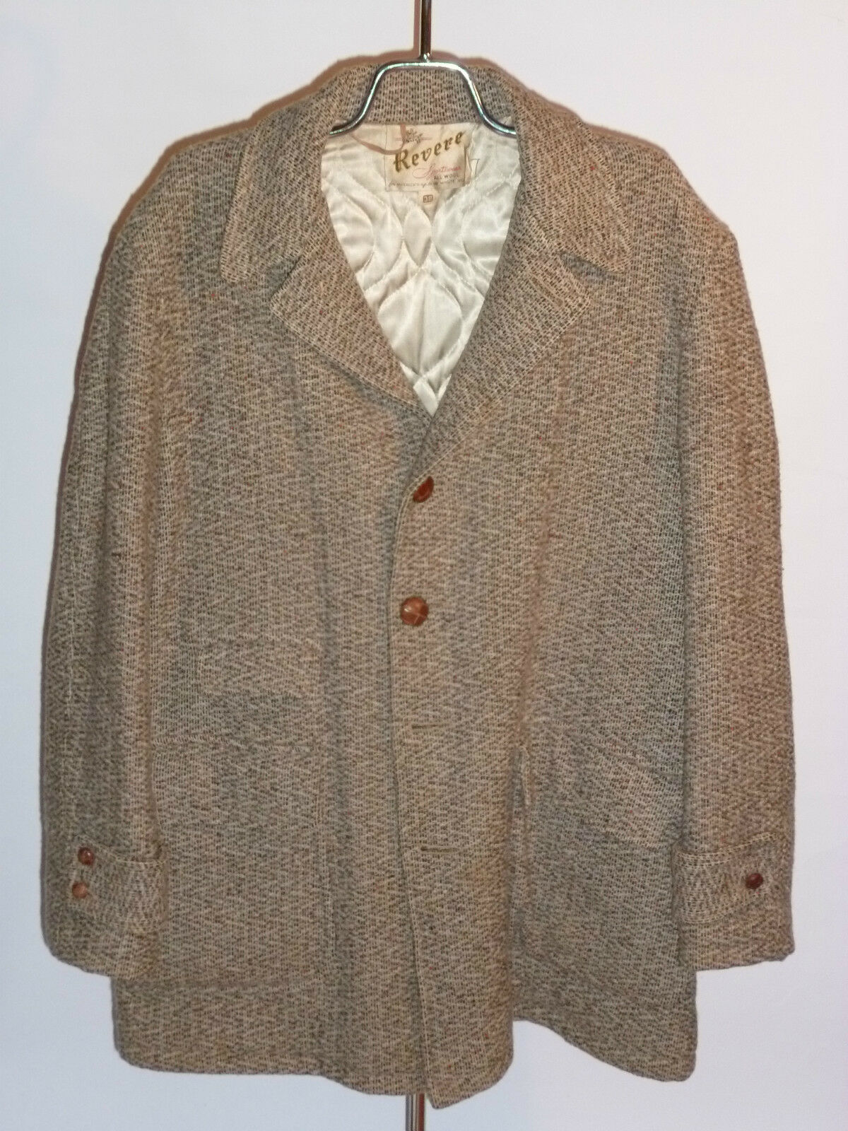 VINTAGE 1940s REVERE SPORTSWEAR ALL WOOL STADIUM COAT  TWEED  QUILTED LINING  38