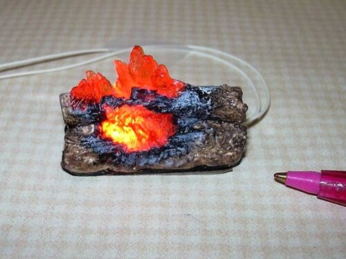 Miniature Logs and Flames for DOLLHOUSE Fireplace #3 12volt 1:12 Scale