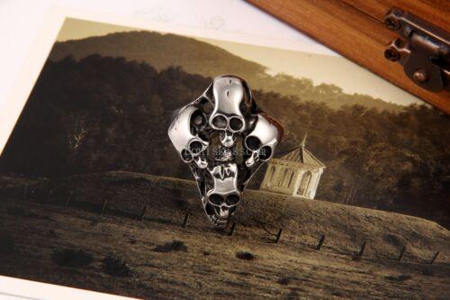 Black Silver Casting Cross Four Skull Stainless Steel Men/'s Boys Ring Size 9-15