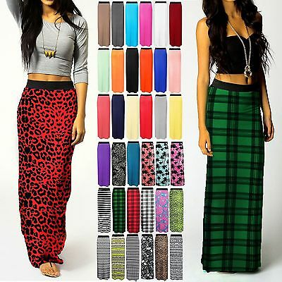 WOMENS LONG GYPSY ELASTIC JERSEY  LONG SUMMER LADIES MAXI SKIRT DRESS SIZE 8-26