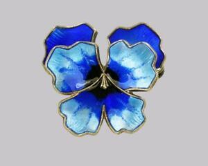David-Anderson-Pansy-Brooch-Vintage-Silver-amp-Enamel-Norwegian-Blue-Flower-Brooch