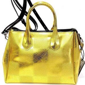 el para oro Chiarini Bolsa amarillo Bolsa doble asa de hombro tronco correa Gianni goma Agro Dama de F4wAxqTH1w