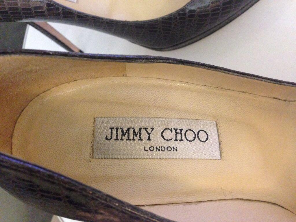 Gently Worn Jimmy Choo Grau Lizard Embossed   Embossed Leder Aimee Pumps Size 38.5 / 8.5 1747ab