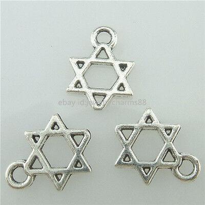 15392 150PCS Antique Silver Vintage Mini Hollow Star of David Witchcraft Pendant