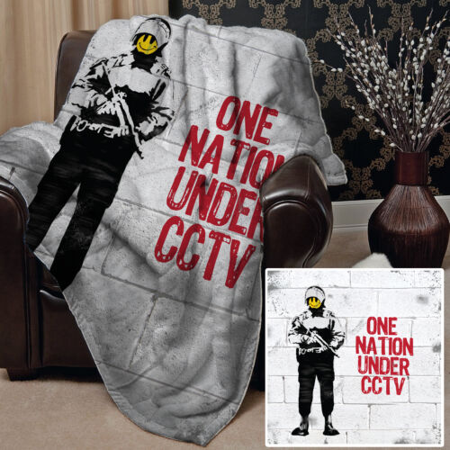 Large Warm Sofa Fleece Throw Banksy Smiley Face Design Blanket Artist Gift