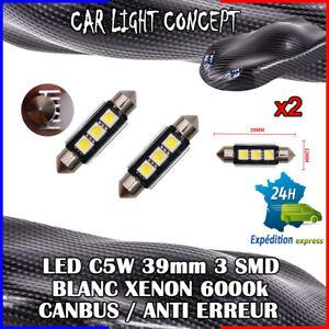 2-x-ampoule-Plafonnier-Feu-39-mm-navette-LED-C5W-BLANC-XENON-6000k-voiture-auto