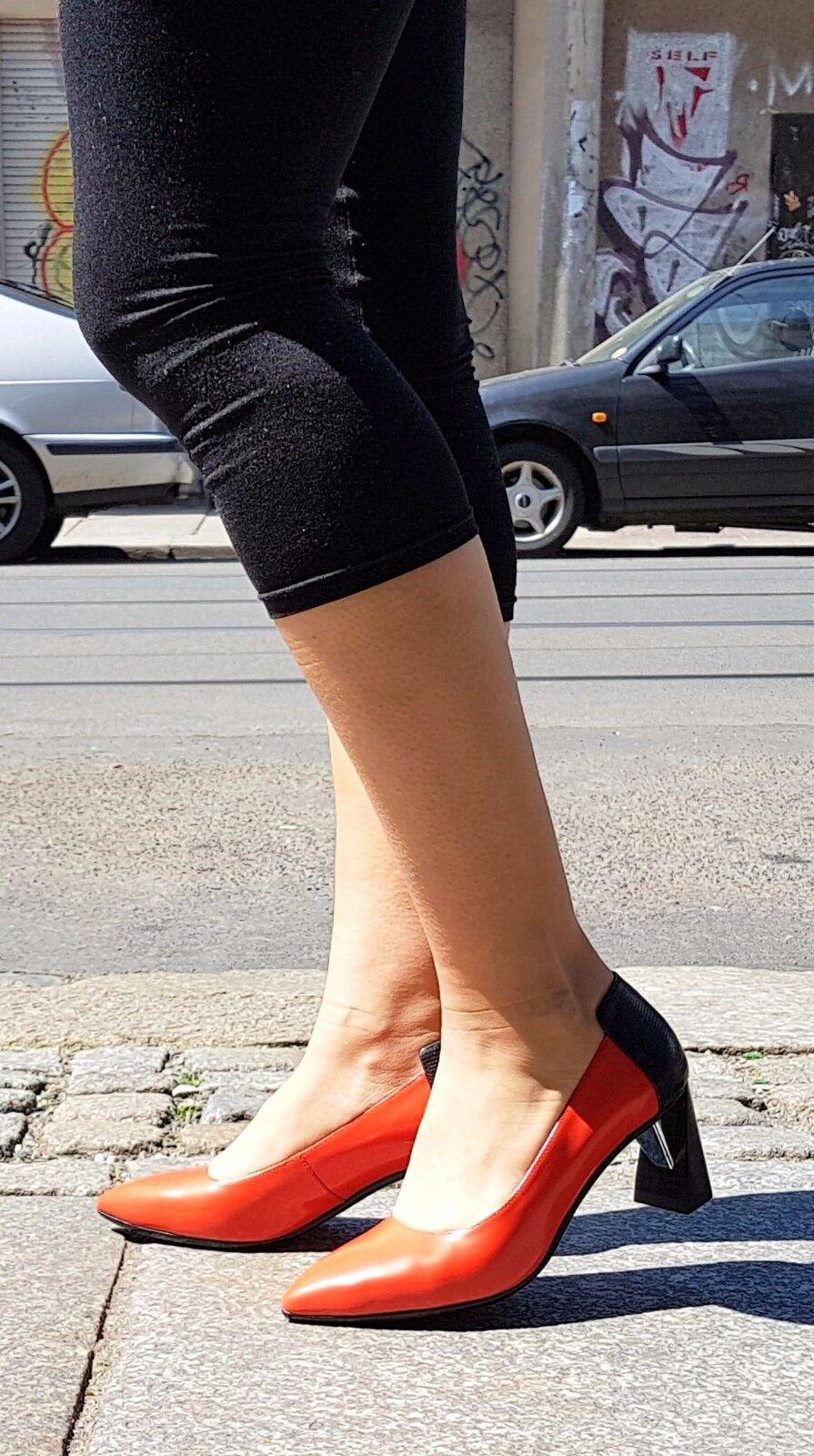 UNITED NUDE PUMPS 101715217316 ESUZE RED+BLACK ABSATZ ECHTLEDER ORIGINAL 6 cm ABSATZ RED+BLACK 63d34c