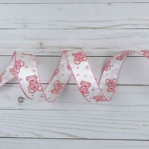 3 Wired Decorative Ribbon Baby Shower Pink 1.5 Inch x 4 Yards