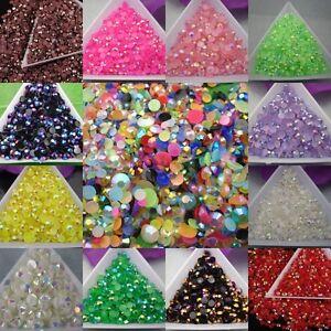 Wholesale 2000 pcs AB Color Half Round Crystal  Rhinestone Flatback Beads 3mm