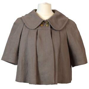 Chloé Stone Grey Cropped Linen Jacket Romantic Peter Pan Collar