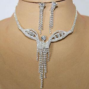 Juego-de-joyas-collar-pendiente-cristal-strass-Novia-Colgante-Cadena-Plata-21