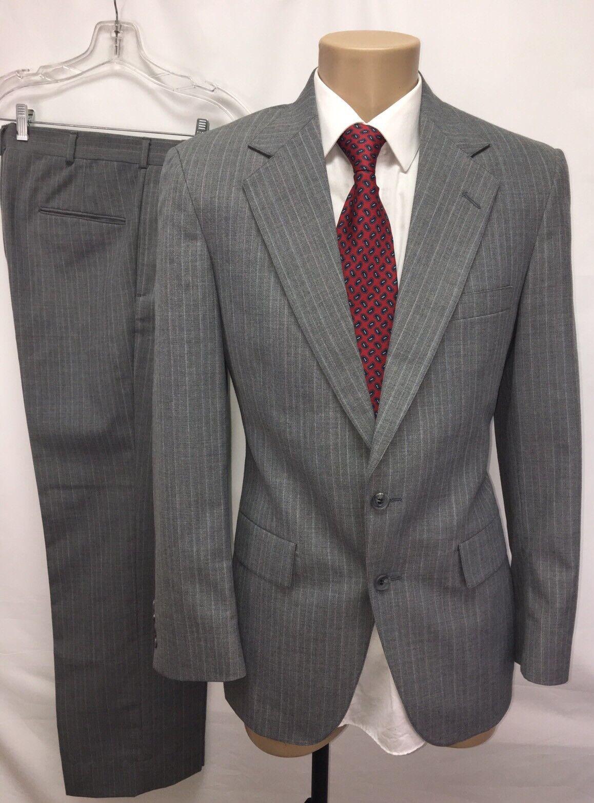 VTG RICHARD THOMAS FINE CLOTHING  Herren 2 PC grau PINSTRIPE SUIT SZ 38R 2 BTN MINT