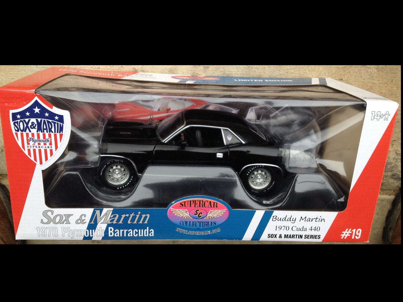 1970 Plymouth Cuda noir 1 18 ACME 1806105 SOX & MARTIN