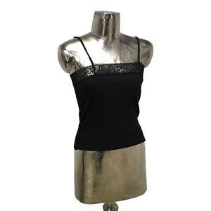 Poppy Tank Top T-Shirt Cotton Vest Black UK M 12 (EU40) NEW Women's RRP £22