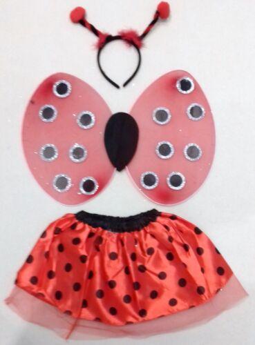 Ladybird Fancy Dress Outfit Tutu Wings Headband Easter Girls Costume Kids UK
