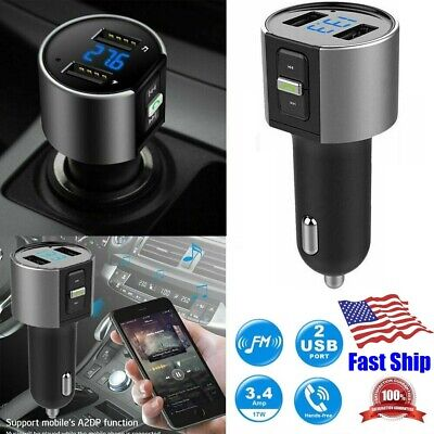 TONSUM Bluetooth Car FM Transmitter with Charger Supports USB /& TF Card Bluetooth Car Adapter Black