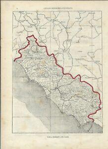 Cartina Lazio.Carta Geografica Antica Lazio Roma 1891 Old Antique Map Ebay