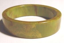 "40's Vintage GREEN MARBLE BAKELITE BANGLE 3/4"" BRACELET"