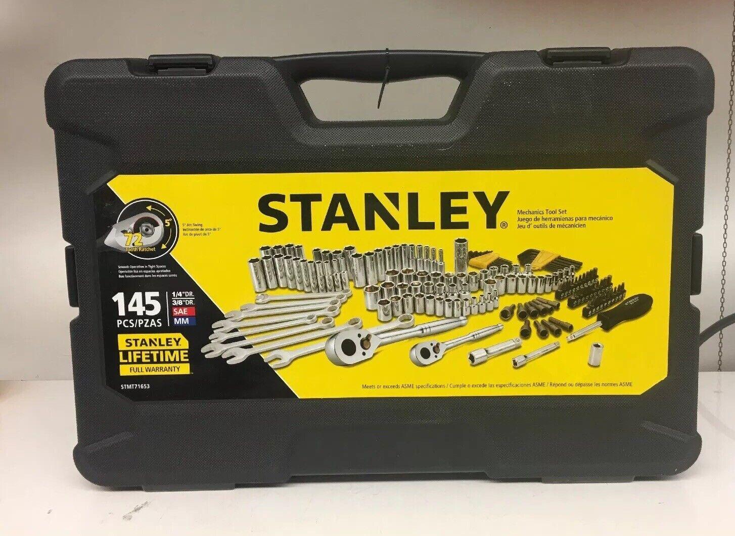 NEW Stanley Standard SAE Metric Combination Mechanic Tool Socket Set Kit 145-Pc