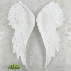 Pair of Large Glitter Angel Wings 54cm White Glitter Wall Hanging Home AO 44427