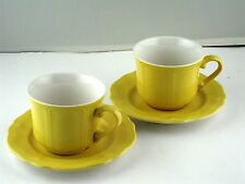 Coffee Cup and Saucer Federalist Buttercup Yellow by Sears 4pcs 2 Sets