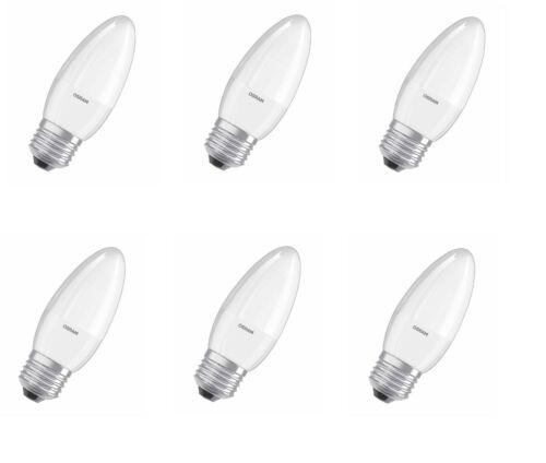 6x Osram DEL Bougies //// e27 //// variateur //// 2700k-Blanc Chaud //// 5,4 W = 40 W //// Bon état