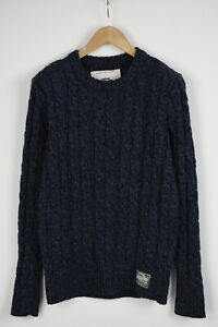 SUPERDRY-VINTAGE-PREMIUM-KNITWEAR-Men-039-s-M-Wool-Blend-Cable-Knit-Sweater-28278-JS