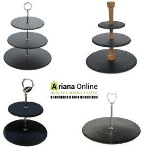 3 Tier Natural Slate Cake Stand Afternoon Tea Wedding Plates Party Tableware