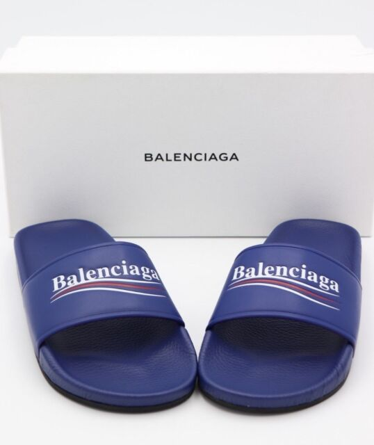 b1de05bab7c Balenciaga Blue Leather Pool Slide Sandals 11 41 for sale online
