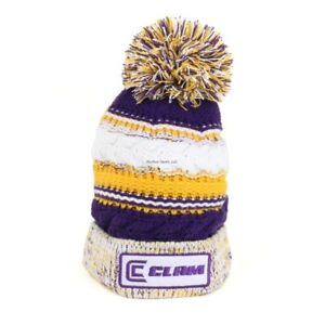 8a2177ea8 Details about **NEW Ice Armor Clam Purple/Gold Pom Ice Fishing Hat Vikings  10959